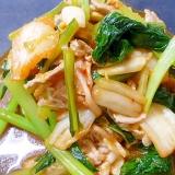 ご飯に合います!小松菜入りの豚キムチ炒め