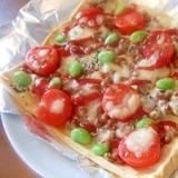 油揚げで!枝豆納豆トマトピザ☆