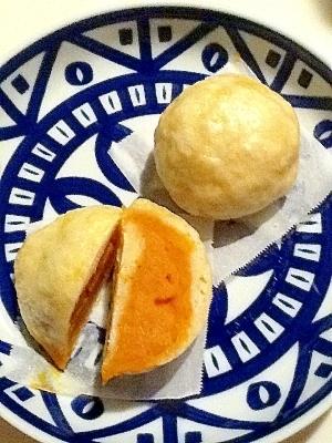 カボチャ餡の蒸し饅頭