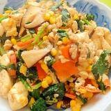 ほうれん草とコーン椎茸の炒り豆腐