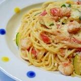 ズッキーニと海老のトマトクリームパスタ