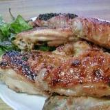 鶏手羽中のグリル焼き♪から揚げ粉で味付け。