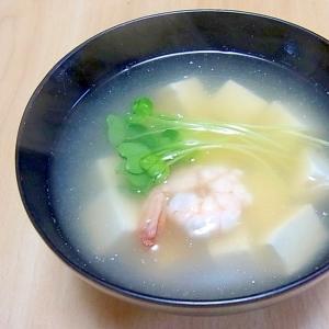 えびと豆腐の塩麹汁