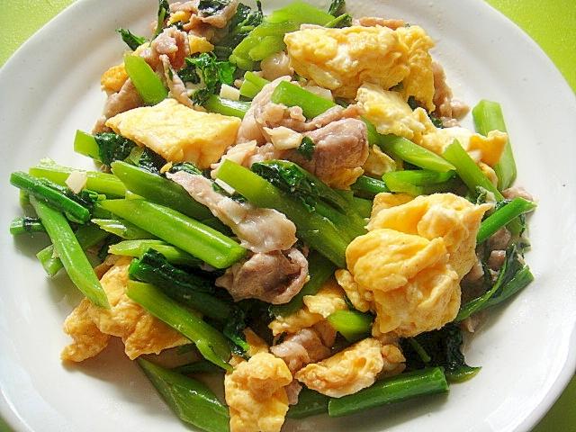 つるむらさきと豚肉の卵炒め