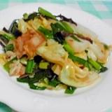 白菜、きくらげ、豚バラとニラの中華炒め♪