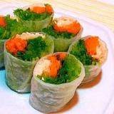 水菜と鶏ささみのおつまみ生春巻き