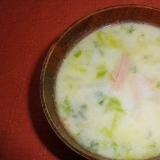 白菜とハムの豆乳スープ