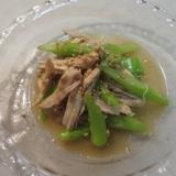 レンジで簡単♪アスパラとささみの中華風サラダ