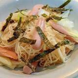 味ぽんで 魚肉ソーセージと白葱の素麺チャンプルー