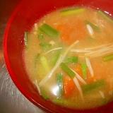 かぼちゃ+えのき+ニラの味噌汁