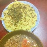 味噌&醤油のダブルスープde太麺&細めんのつけ麺!