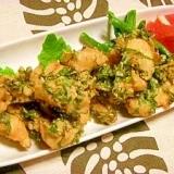 青シソたっぷり☆鶏ササミ肉の塩から揚げ