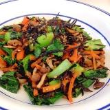 簡単調理で鉄分補給!ひじきと小松菜と人参のゴマ炒め
