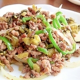 合挽き肉の高菜炒め
