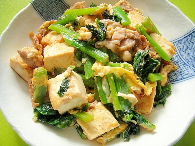 つるむらさきと豆腐のチャンプルー