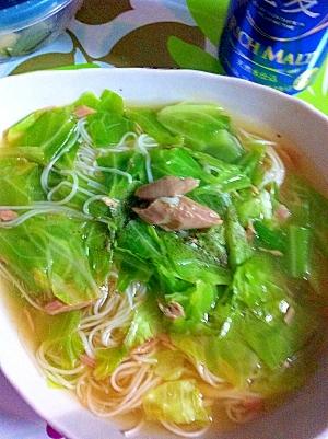 【簡単】ツナとキャベツのあんかけにゅう麺