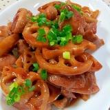 蓮根と鶏肉の黒酢で✿甘酢たれ炒め❤
