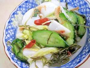 朝食レシピ 112)がごめ昆布入り「白菜の新漬け」