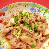 ゆず胡椒タレで☆豚肉ときのこの炒め物