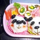 本日ののちゃんお弁当⑭ パンダとお花でかわいらしく