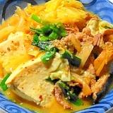 豚肉キャベツと玉ねぎの和風みそキムチ鍋