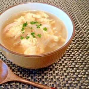 玉ねぎとベーコンの卵とじスープ