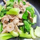 青梗菜と豚肉のにんにくウェイパー炒め