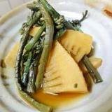 たけのことわらびの簡単煮★筍蕨めんつゆ煮。・:*