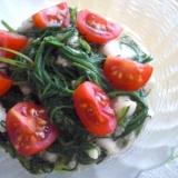 おかひじきと長いもとプチトマトのわさポンサラダ