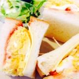 ★朝ごはん!ぶ厚い卵焼きのサンドイッチ!