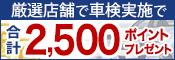 厳選店舗で車検実施で2,500ポイントもらえる!