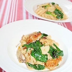 大豆麺で糖質オフ!ほうれん草&牡蠣のペペロンチーノ