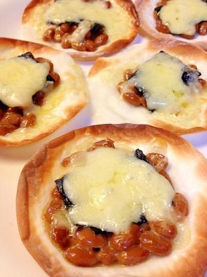 餃子の皮で★納豆・海苔・チーズ焼き