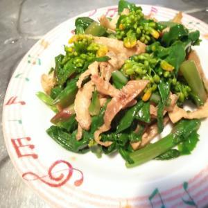 余った鶏皮と菜の花の炒めもの