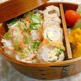 曲げわっぱ弁当35 梅しそ巻唐揚、桜海老ミョウガ飯