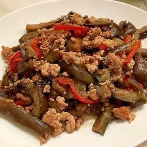 茄子と鶏ひき肉の甜麵醬炒め