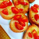 バジルペーストとトマトのブルスケッタ