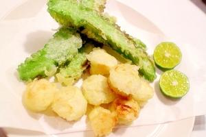四角豆、ゴーヤのワタと種など沖縄野菜の天ぷら