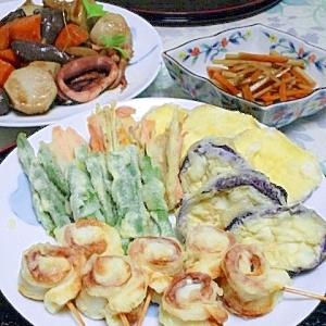 にぎやか♪♬〜野菜とグルグルちくわの天ぷら。
