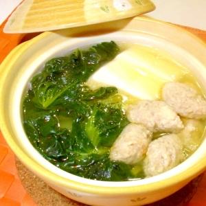 ひとり鍋✿ターサイと鶏団子の中華風
