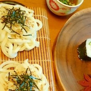 初夏 鰻卵の巻き寿司とミニ冷うどんセット