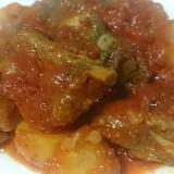 トマト缶で!スペアリブとじゃがいものトマト煮込み