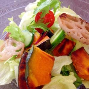 かぼちゃの焼き野菜サラダ×手作り和風ドレッシング