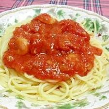 えびとトマトのシンプルパスタ