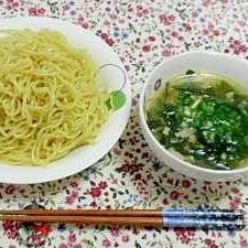 ピリ辛♪薬味たっぷりのつけ麺