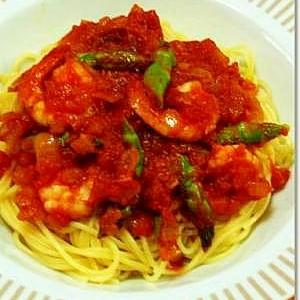 海老とアスパラのトマトソーススパゲッティ