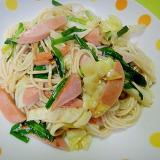 魚肉ソーセージとキャベツニラの炒めひやむぎ