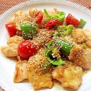 鶏むね肉と野菜のごま炒め