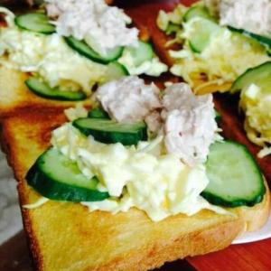 お洒落な朝食★ツナマヨ&たまごのトースト