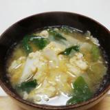 キャベツと青葱の卵とじこうじ味噌汁